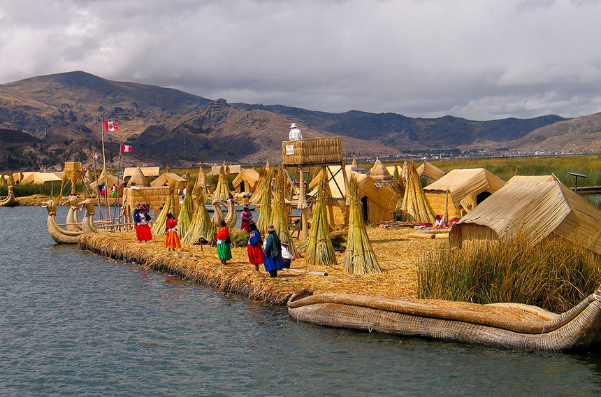 Lake Titicaca - Meet with the top-hatted Uros people who live on islands made of reeds.