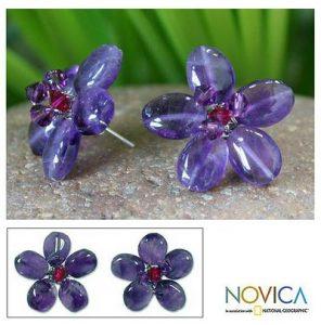 Unique Amethyst Flower Earrings