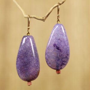 Artisan Crafted Agate Dangle Earrings from West Africa, 'Lilac Nebula' by Rachel Armah