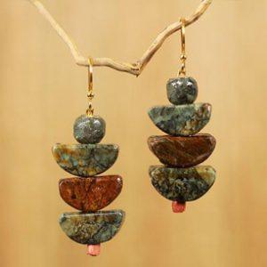 Artisan Crafted Natural Soapstone Beaded Hook Earrings, 'Nkabom' by Rachel Armah