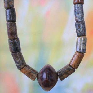 Fair Trade Crafted Men's Soapstone Pendant Necklace, 'Warm Tones' by Rachel Armah