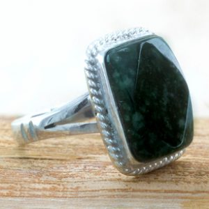 Sterling Silver Cocktail Jade Ring, 'Maya Forest Princess'