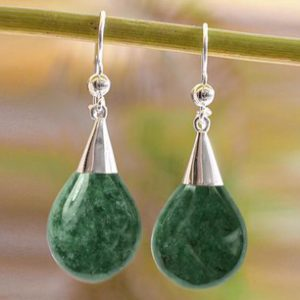 Sterling Silver and Jade Dangle Earrings, 'Apple Drop'