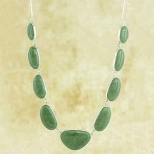 Artisan Crafted Jewelry Jade Necklace in Sterling Silver, 'Mint Green B'olom'
