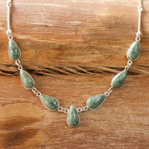 Guatemalan Teardrop Jade Sterling Silver Necklace, 'Drops of Jade'