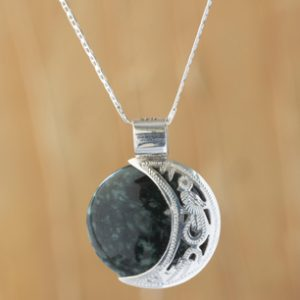 Maya Eclipse Pendant Green and Black Jade on Silver Jewelry, 'Quetzal Eclipse'