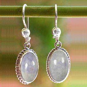 Artisan Crafted Women's Sterling Silver Dangle Jade Earrings, 'Eternal Love'