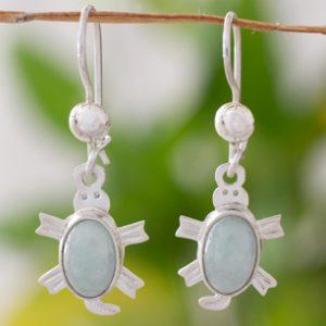 Light green jade dangle earrings, 'Marine Turtles'