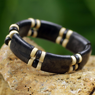 Black and Cream Recycled Bead and Wood Bracelet – Midnight Connection