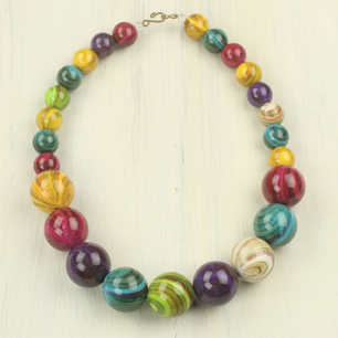Recycled Plastic Bead Necklace - Wild Planet