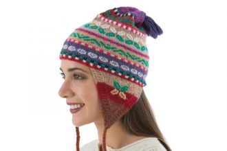 Multi Color Hand Knit 100% Alpaca Peruvian Chullo Hat , 'Winter Fiesta'
