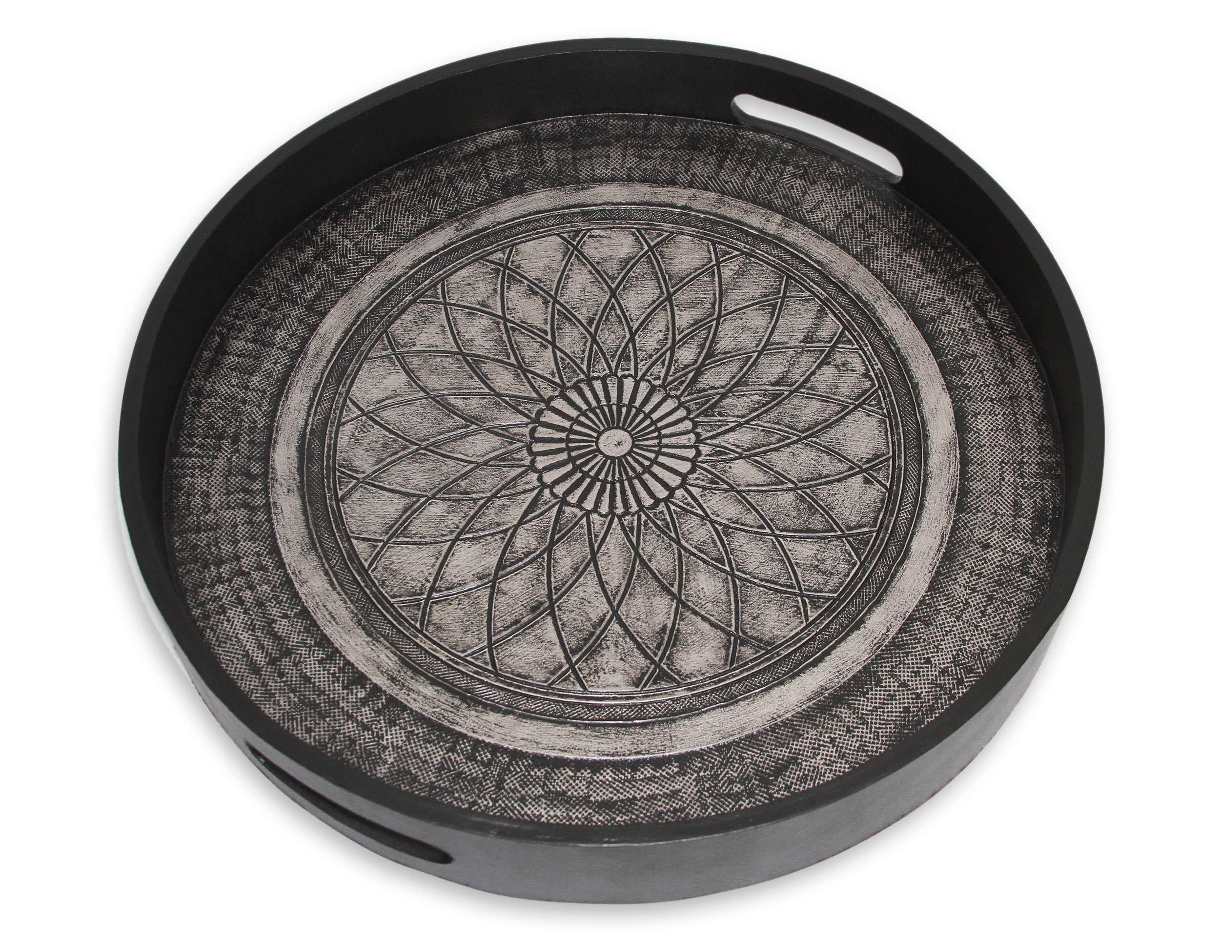 Tooled Leather Serving Tray, 'Andean Lotus'
