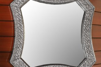 Handcrafted Repoussé Mirror , 'Sparkling Reflections'