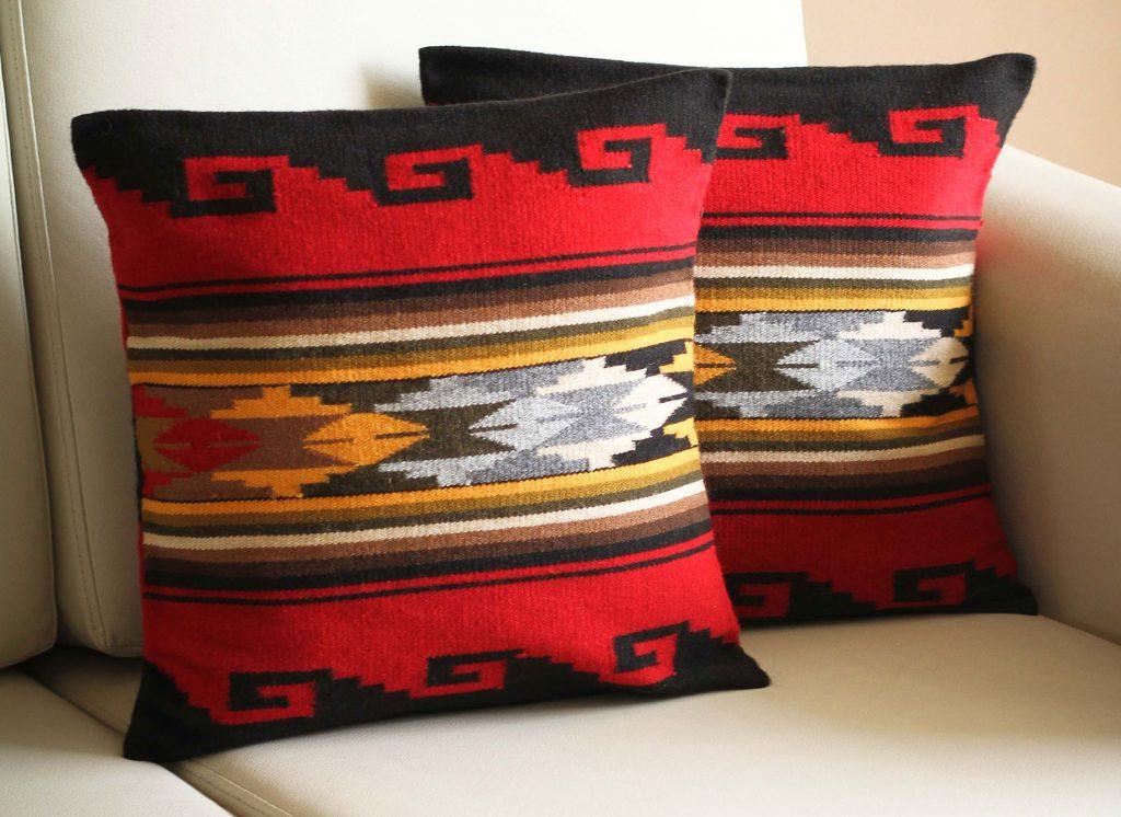 Fair Trade Alpaca Wool Patterned Pillow Covers, 'Crimson Sky'