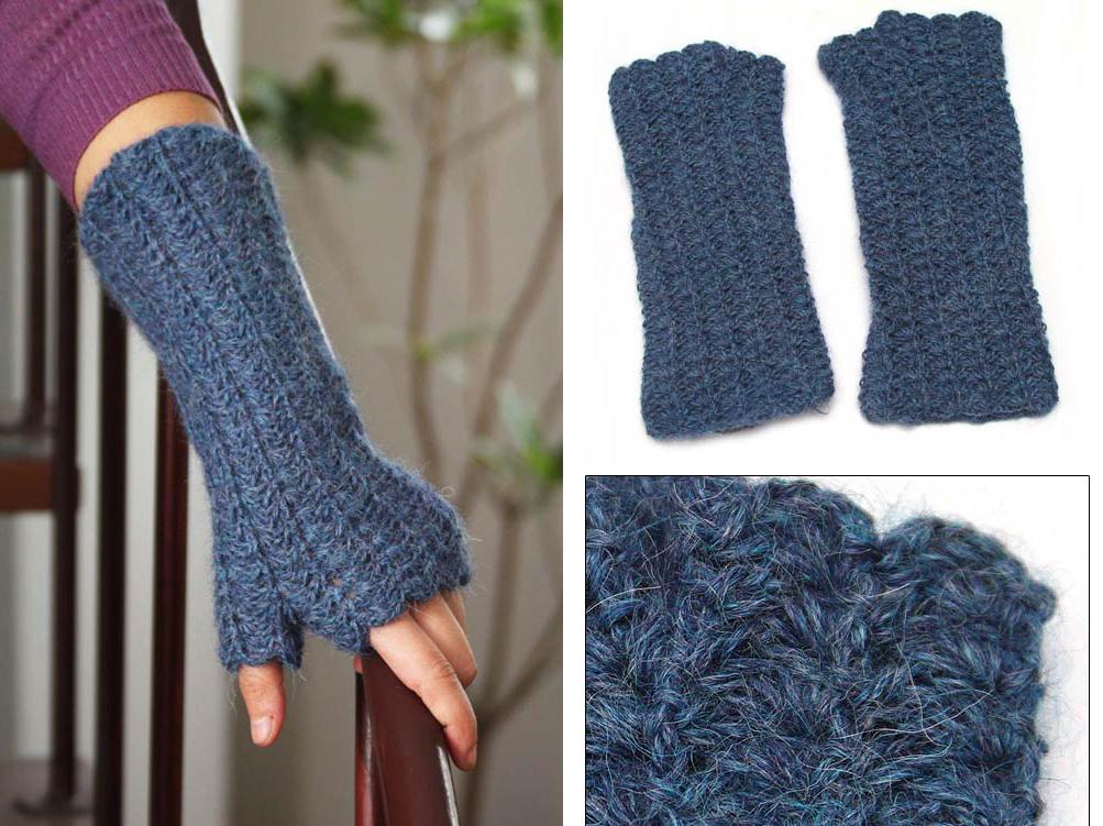 Crocheted Alpaca Wool Fingerless Gloves, 'Mountains of Blue'