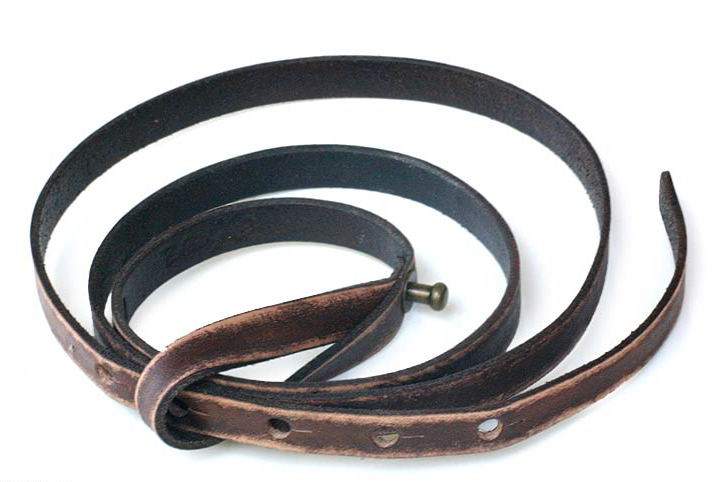 Distressed leather belt, 'Brown Lasso'