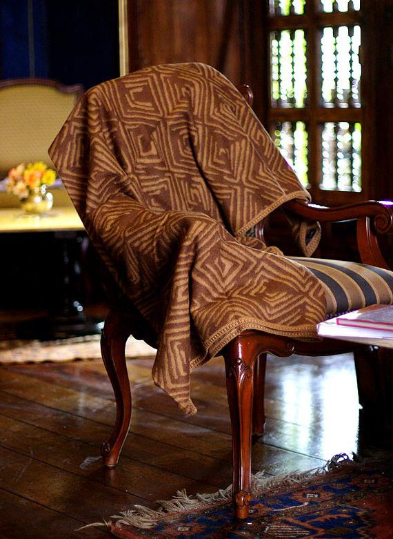 Alpaca Wool Blend Throw Blanket, 'Earth Echo'