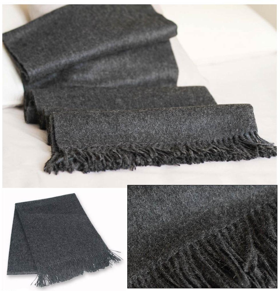 Gray Alpaca Wool Peruvian Throw, 'Warm Winter'
