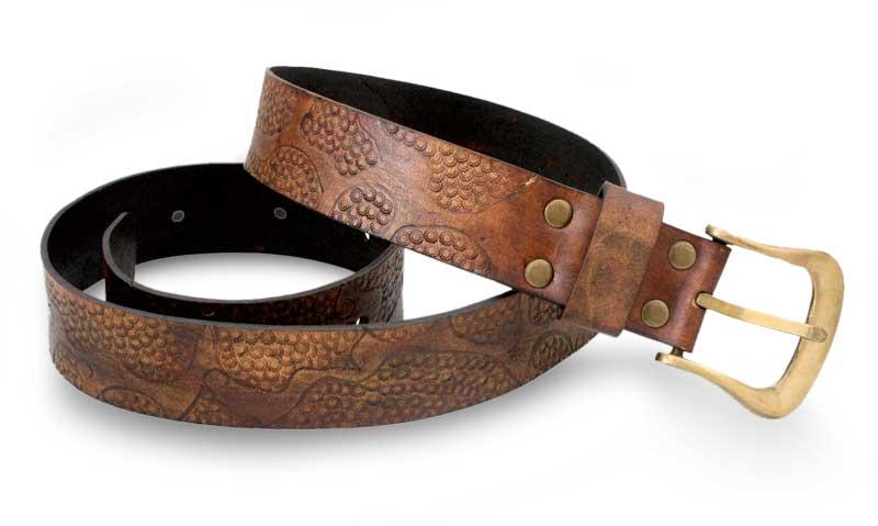 Fair Trade Leather Belt, 'Earthen Pebbles'