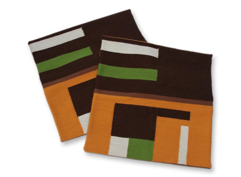 Geometric Alpaca Wool Patterned Cushion Covers (Pair), 'Andean Moon'