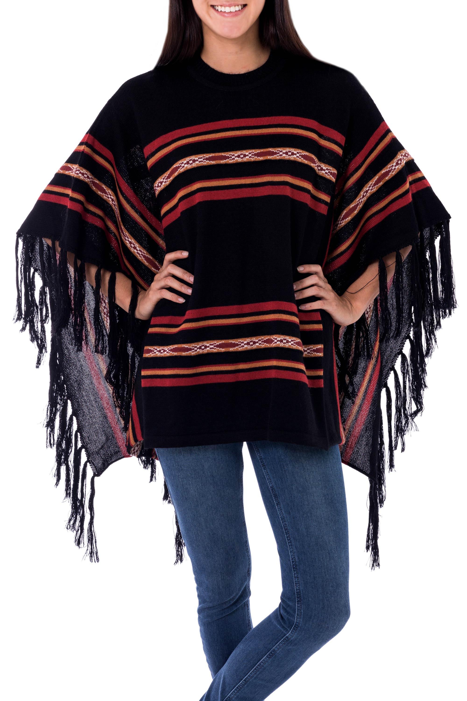 Striped Black 100% Alpaca Poncho with Fringe from Peru, 'Mountain Night'