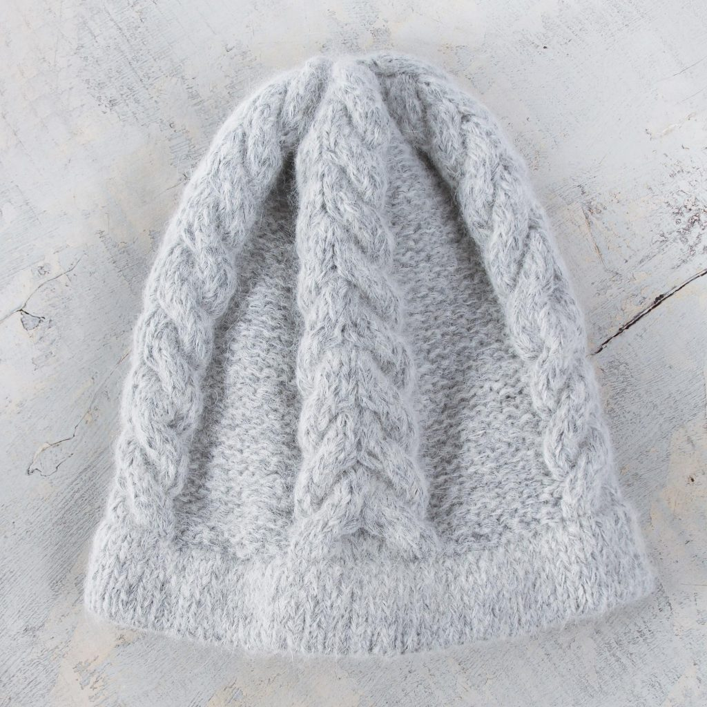 Soft Grey Hand Knitted Cable Stitch Alpaca Hat, 'Mist'