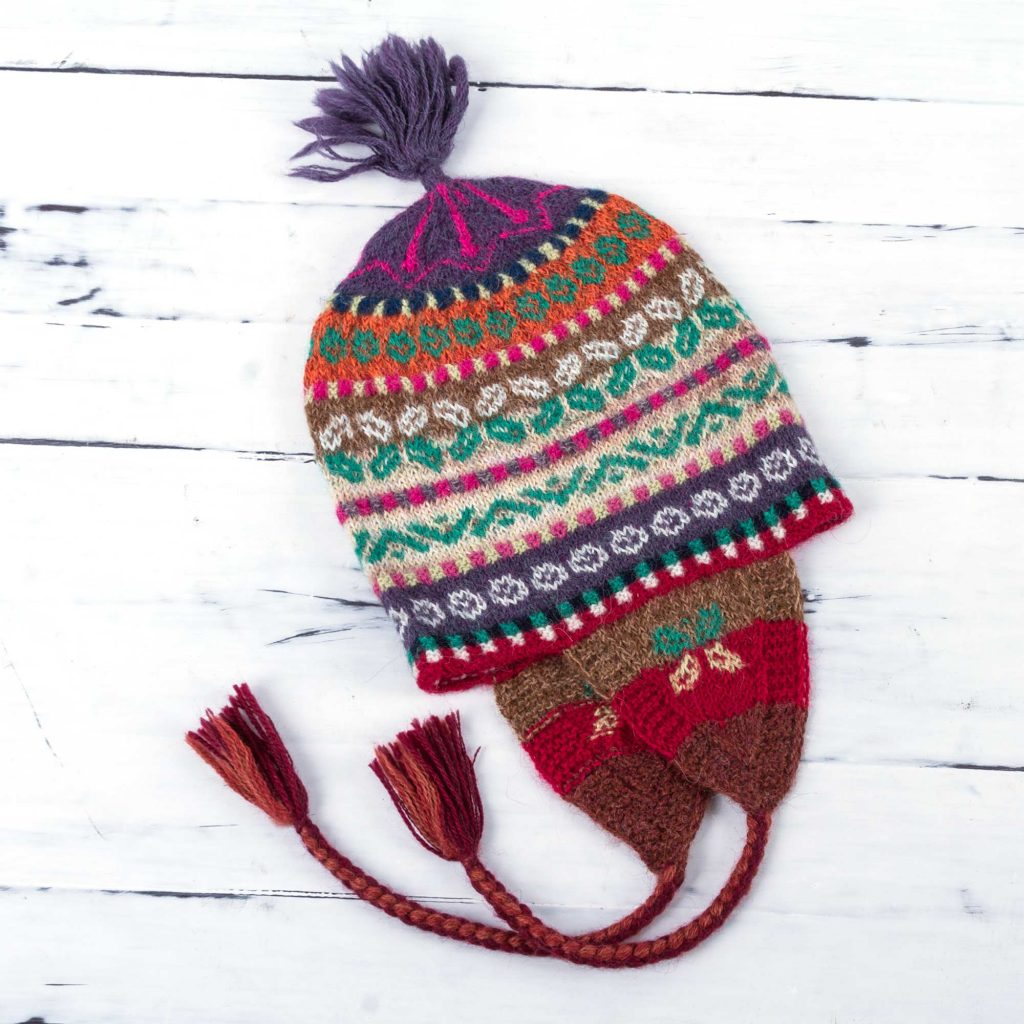Multi Color Hand Knit 100% Alpaca Peruvian Chullo Hat , 'Winter Fiesta'