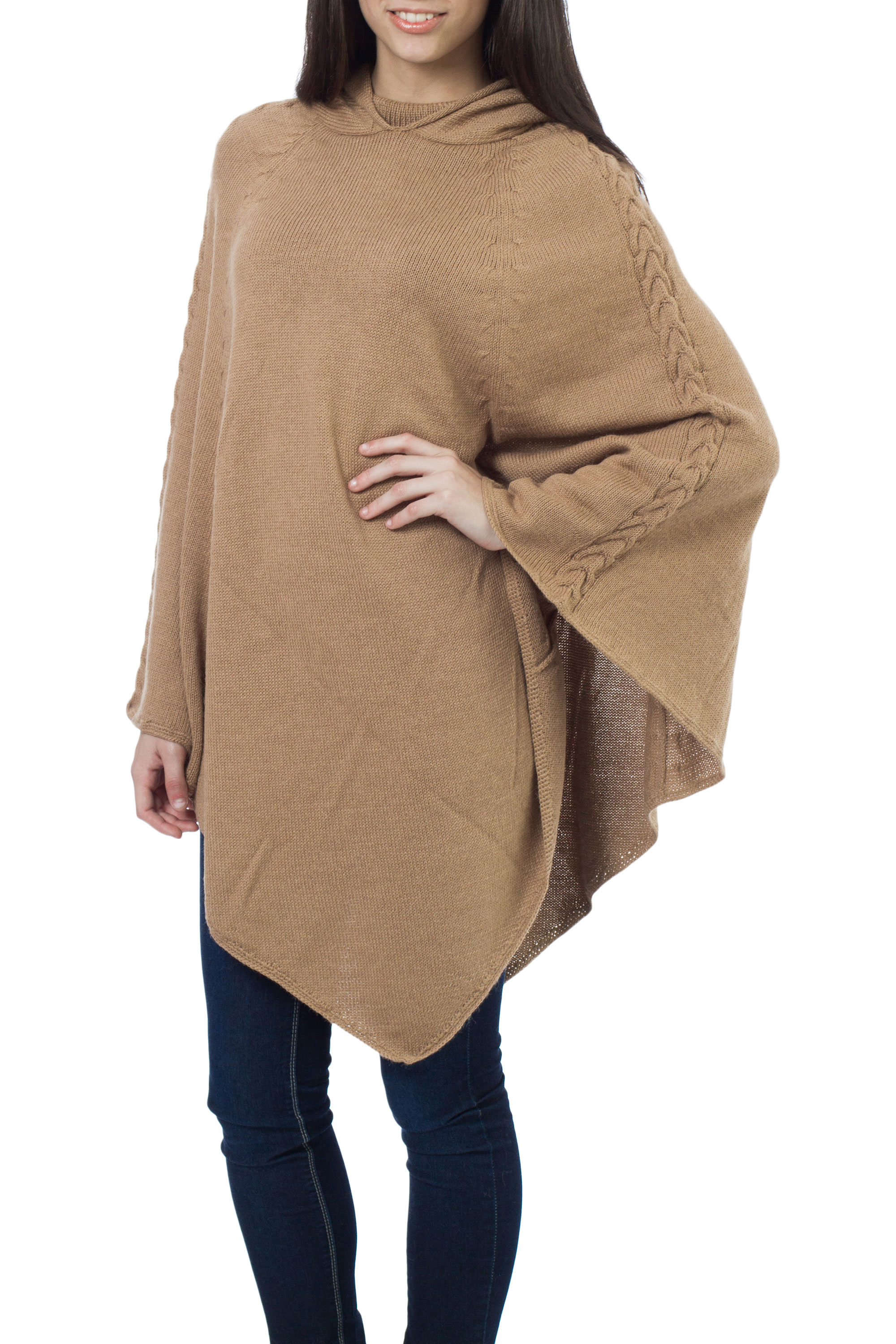 Alpaca blend poncho, 'Tan Riding Hood'