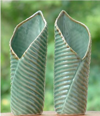 Ceramic Leaf-Shaped Vases (Pair), 'Banana Vases'