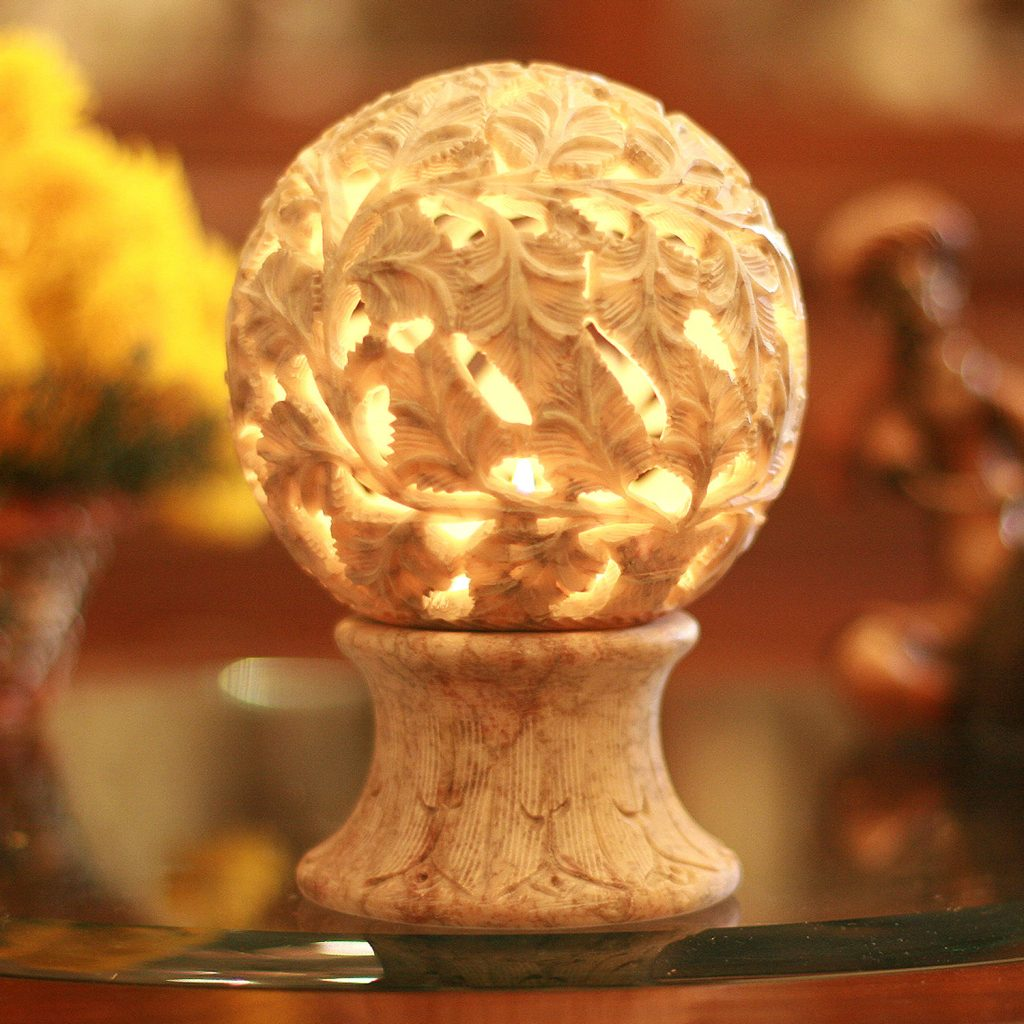 Hand Carved Stone Leaf Candle Holder, 'Illuminated Garden'