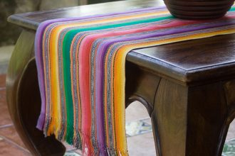 Hand Loomed Central American Cotton Table Runner, 'Striped Color Fantasy'