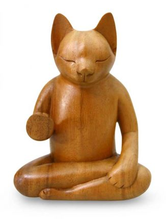 Original Wood Sculpture from Indonesia, 'Blessing Cat'