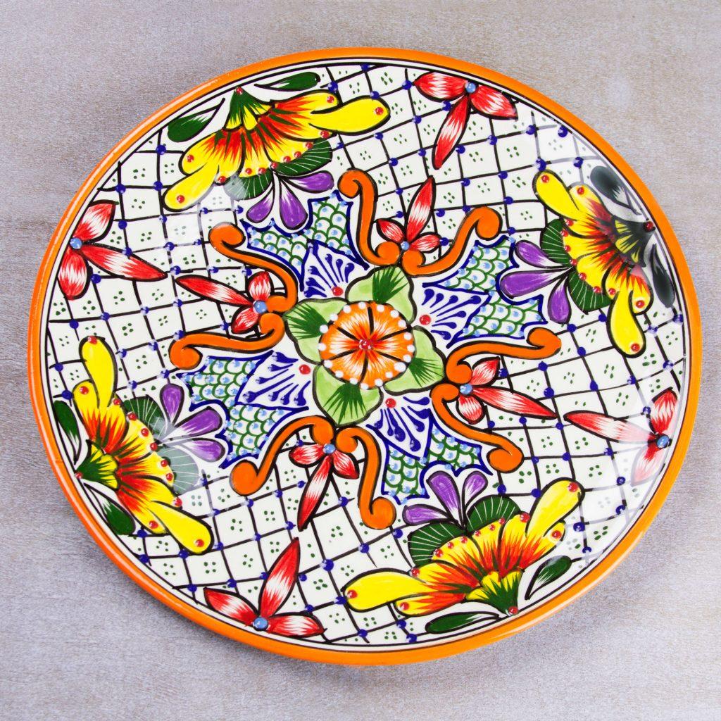 Talavera ceramic serving plate, 'Happy Tradition'