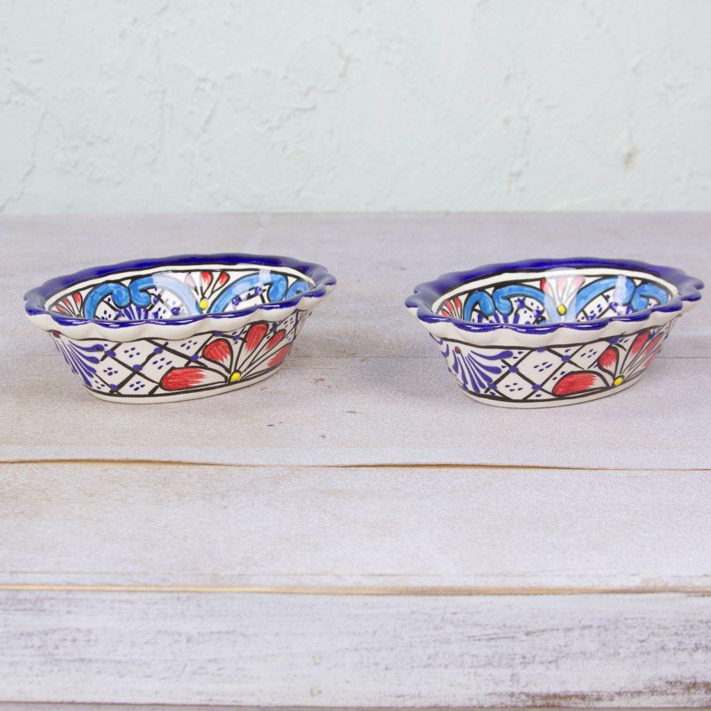 Pair of 5 oz Talavera Ceramic Bowls Handmade in Mexico, 'Daisy Stars'