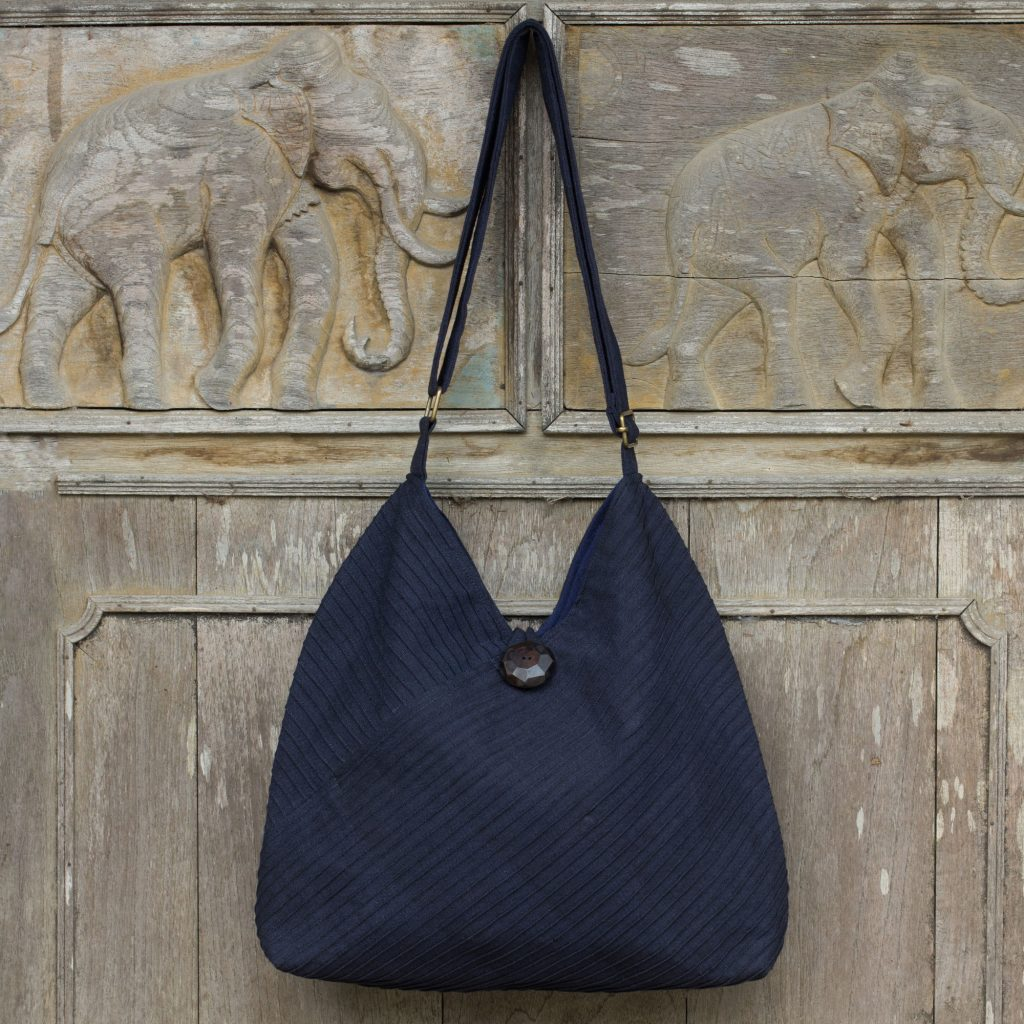 Navy Blue Cotton Hobo Bag with Coin Purse and Multi Pockets 02a070f01d807