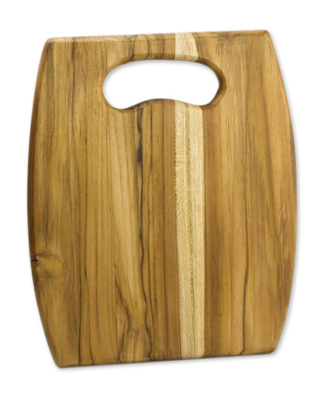 Artisan Wood Cutting Board with Cutout Handle, 'The Daily Grain'