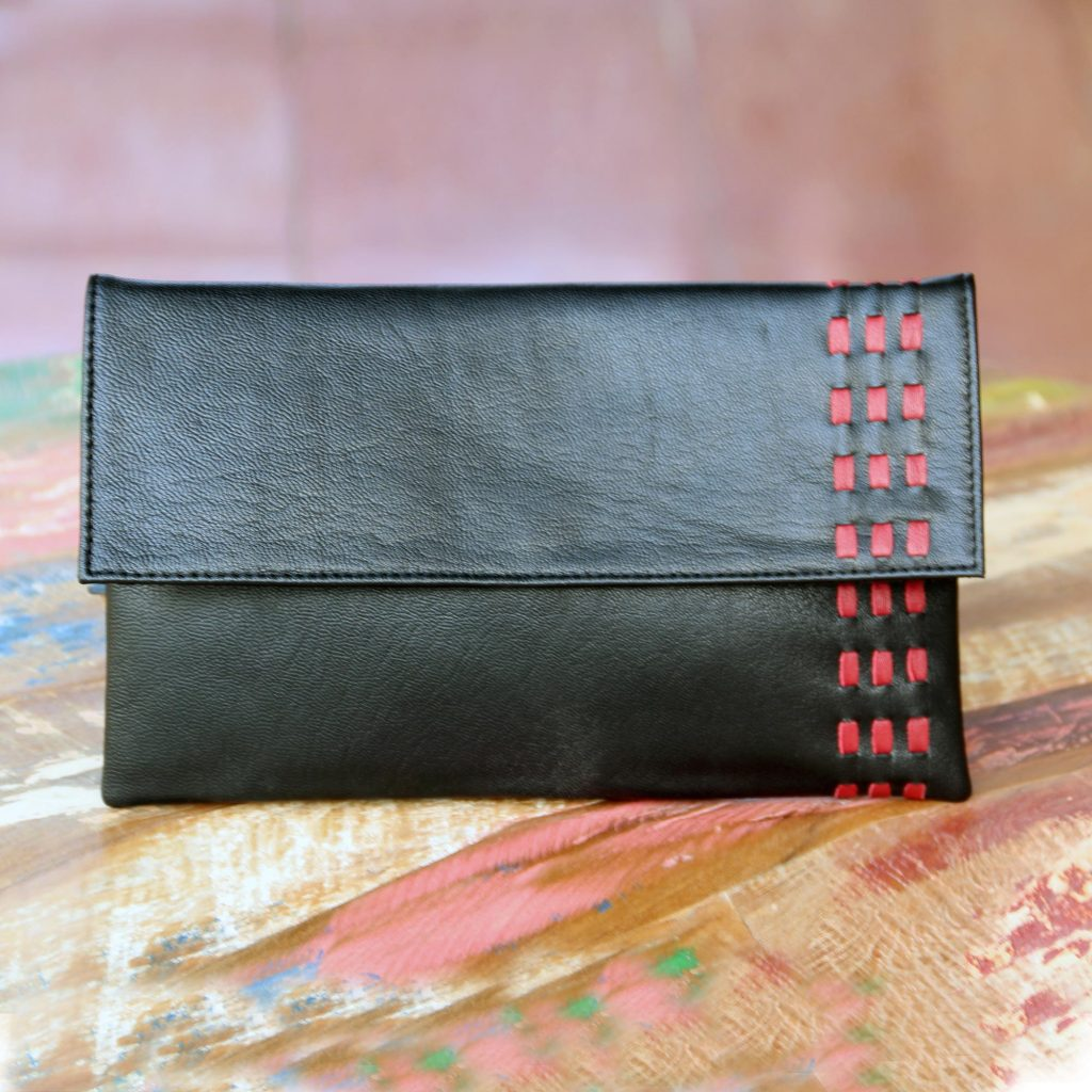 Red Accent Black Leather Clutch Handbag from Bali, 'Midnight Scarlet'