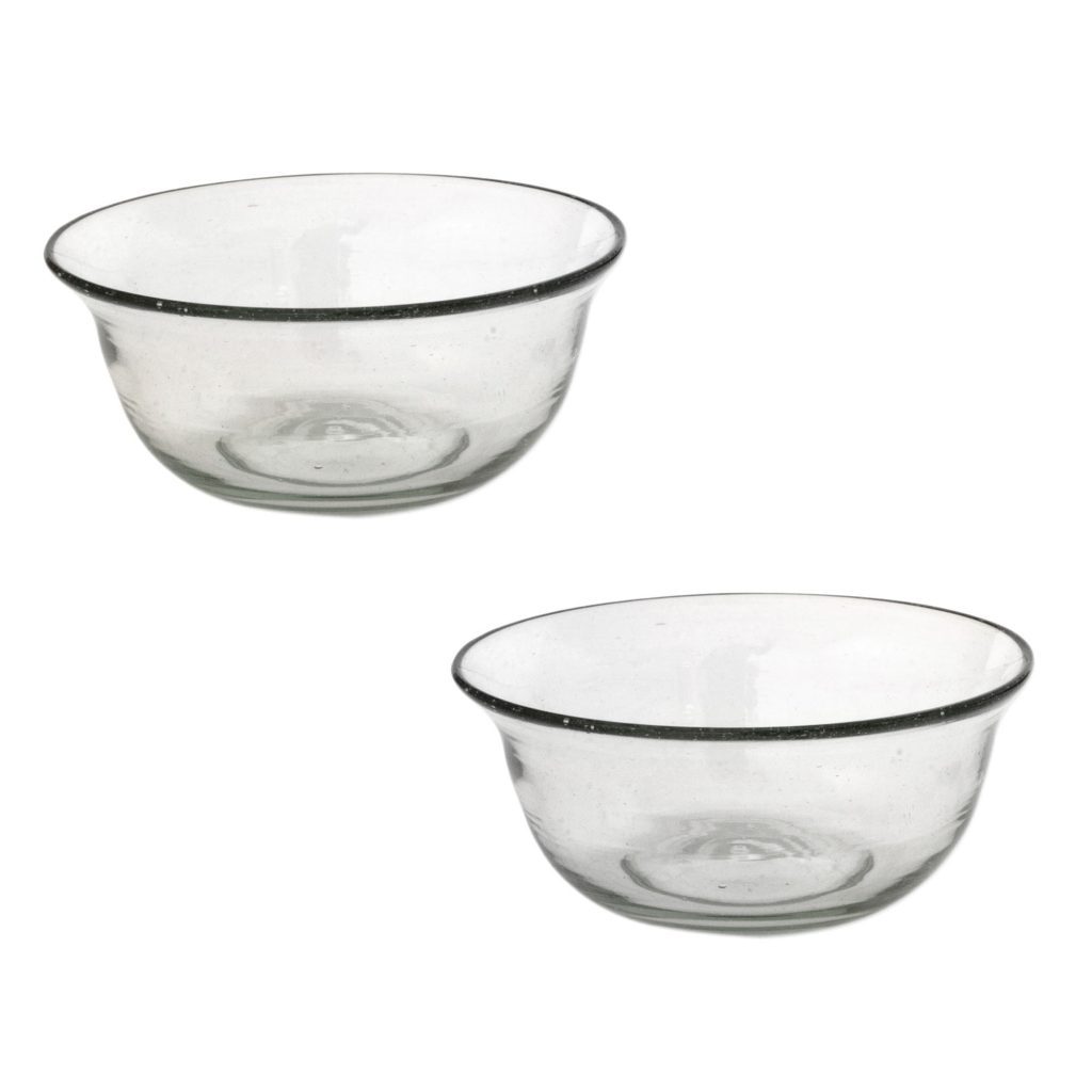 Artisan Crafted Clear Blown Glass Bowls (Pair), 'Bubbles'