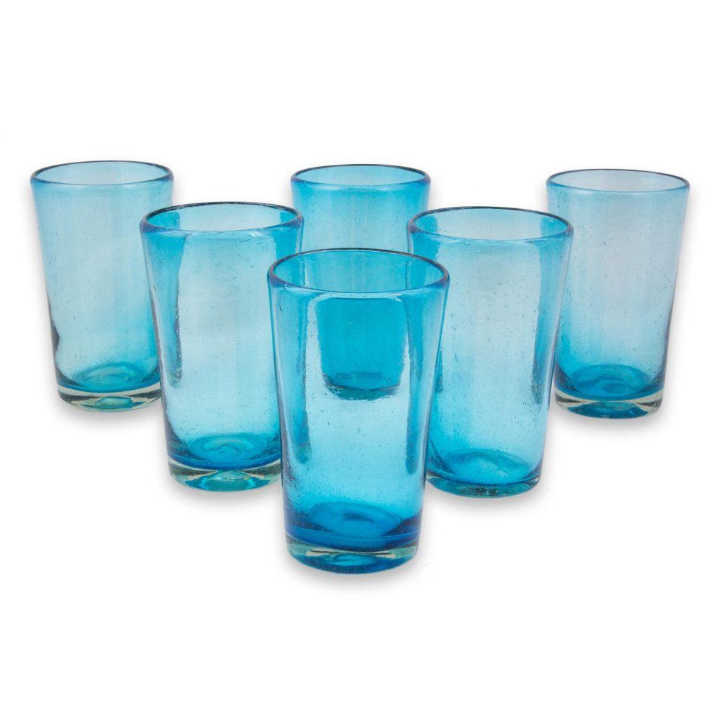 Set of 6 Aquamarine Hand Blown 15 oz Highball Glasses, 'Aquamarine Bubbles'
