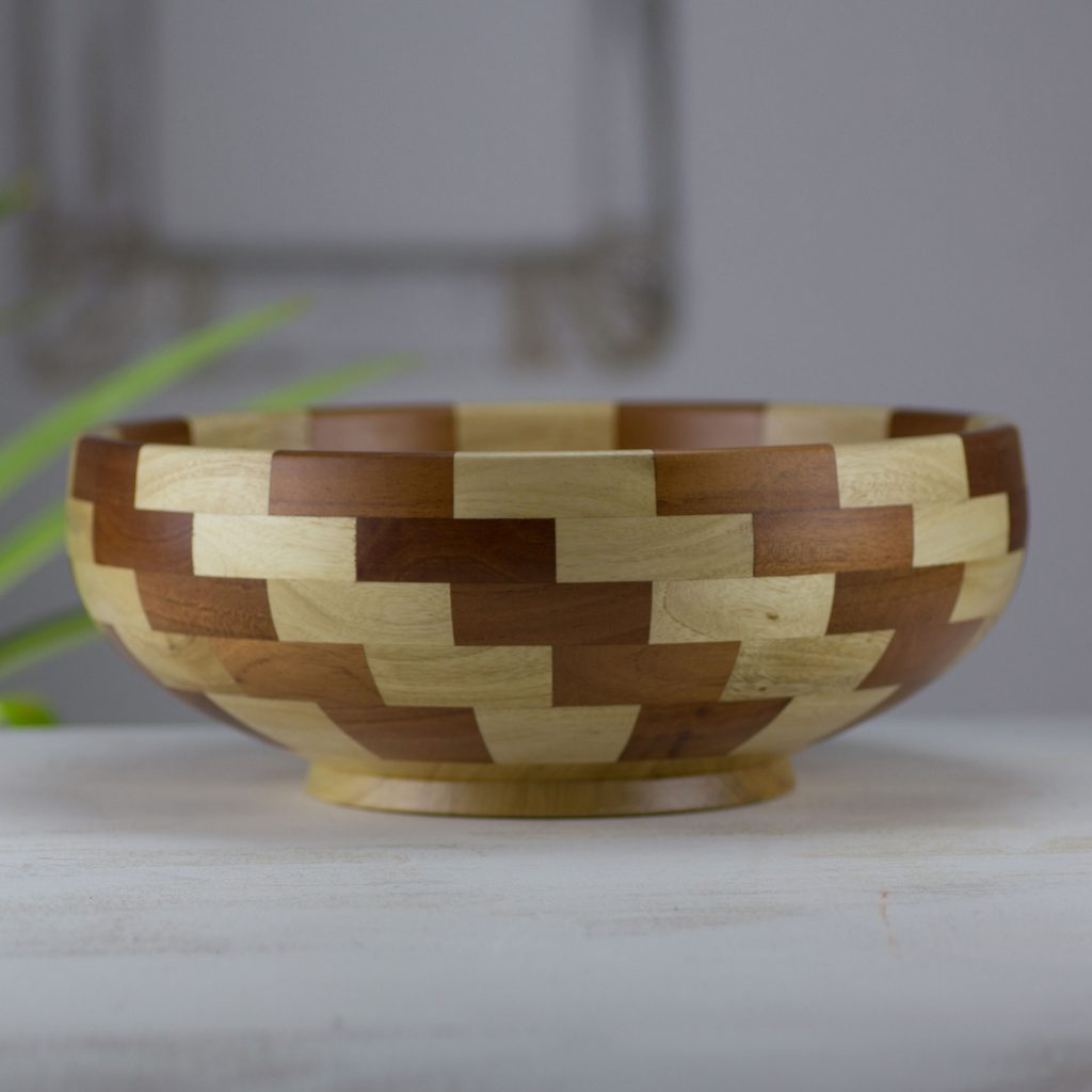 Curate Product ID: U169313 Artisan Crafted Natural Mahogany Palo Blanco Wood Bowl, 'Stairway of Nature'