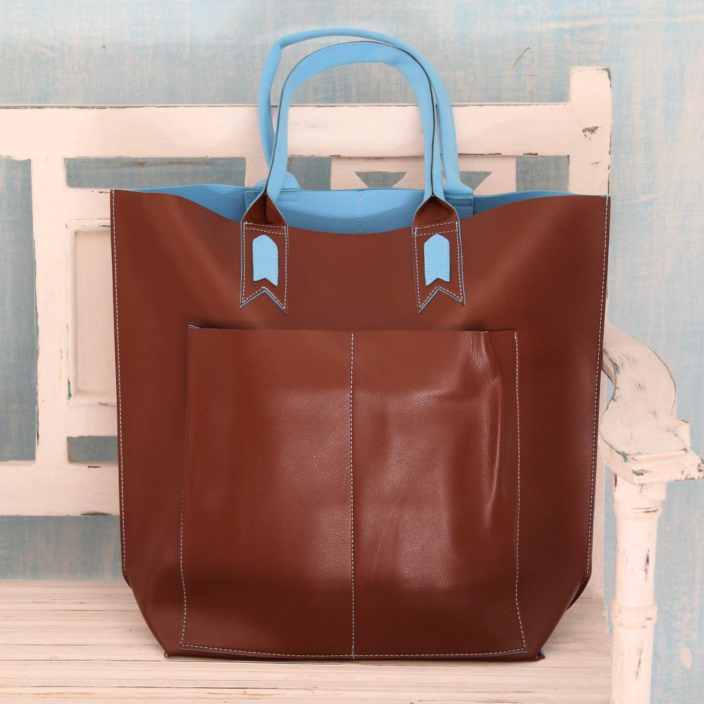 Artisan Crafted Tote Bag in Brown with Blue Trim, 'Versatile Chocolate'