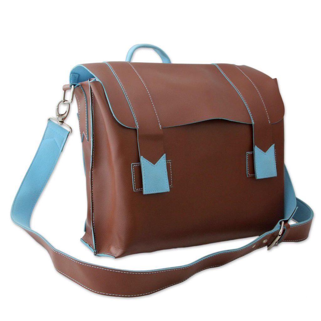 Brown Messenger Bag with Baby Blue Trim Handcrafted in India, 'Practical Chocolate'