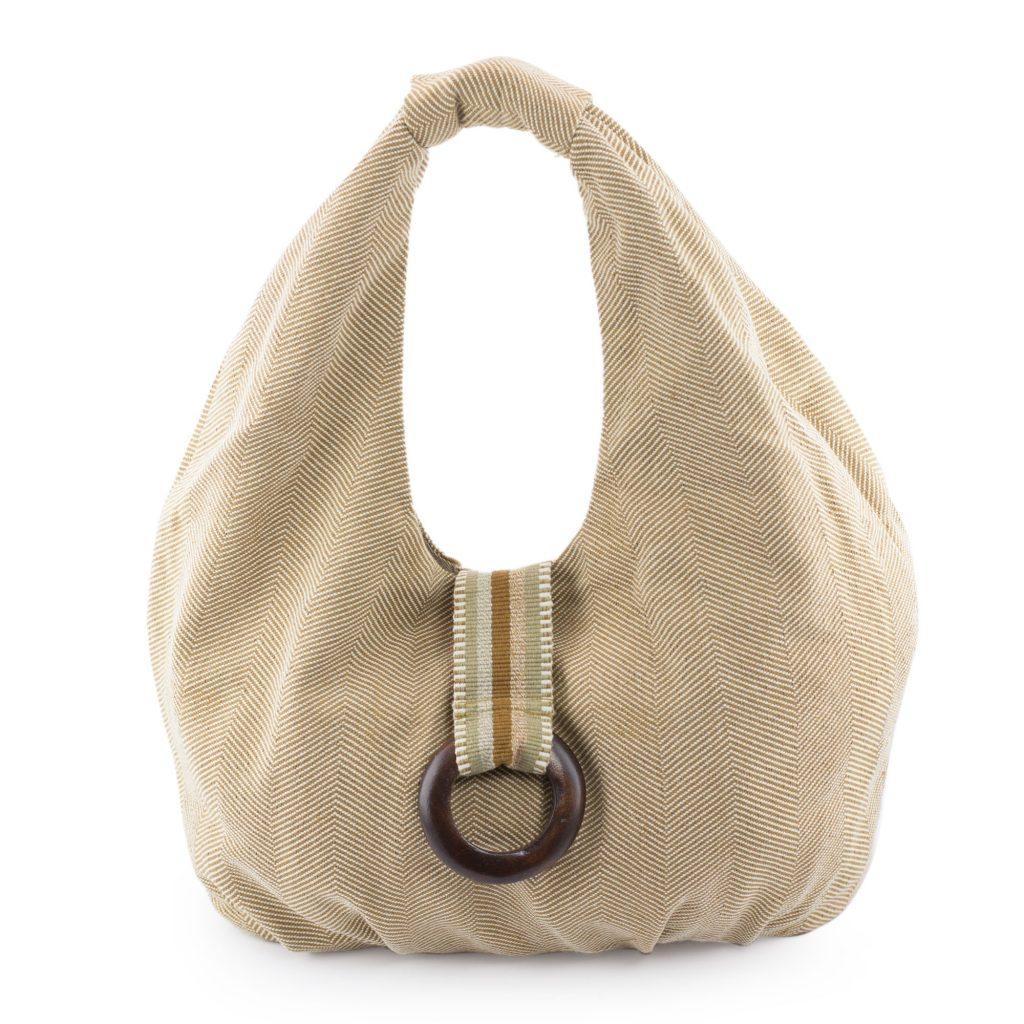 Handwoven Natural Brown Cotton Hobo Handbag, 'Natural Hazelnut'