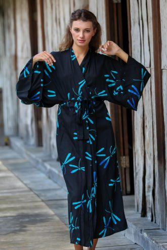 Handcrafted Black Batik Robe with Dragonflies from Bali, 'Night Dragonflies'