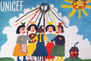 A painting by seven-year-old Jitka Samkova of Czechoslovakia shows five girls dancing around a maypole. The word 'UNICEF' appears in the upper-left corner, a sun is in the sky and a small house is in the distance. The painting was reproduced on the first official UNICEF greeting card.