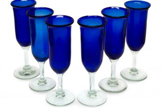 6 Handcrafted Hand-blown Glass Blue Champagne Glasses Set, 'Cobalt'