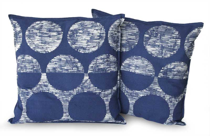 Handcrafted Cotton Cushion Covers (Pair), 'Exotic Indigo'