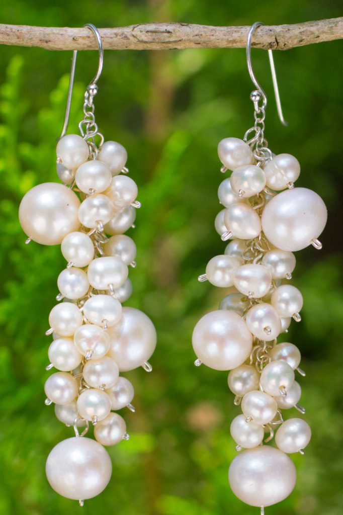 Pearl Cluster Gemstone Earrings, 'Full Moon'