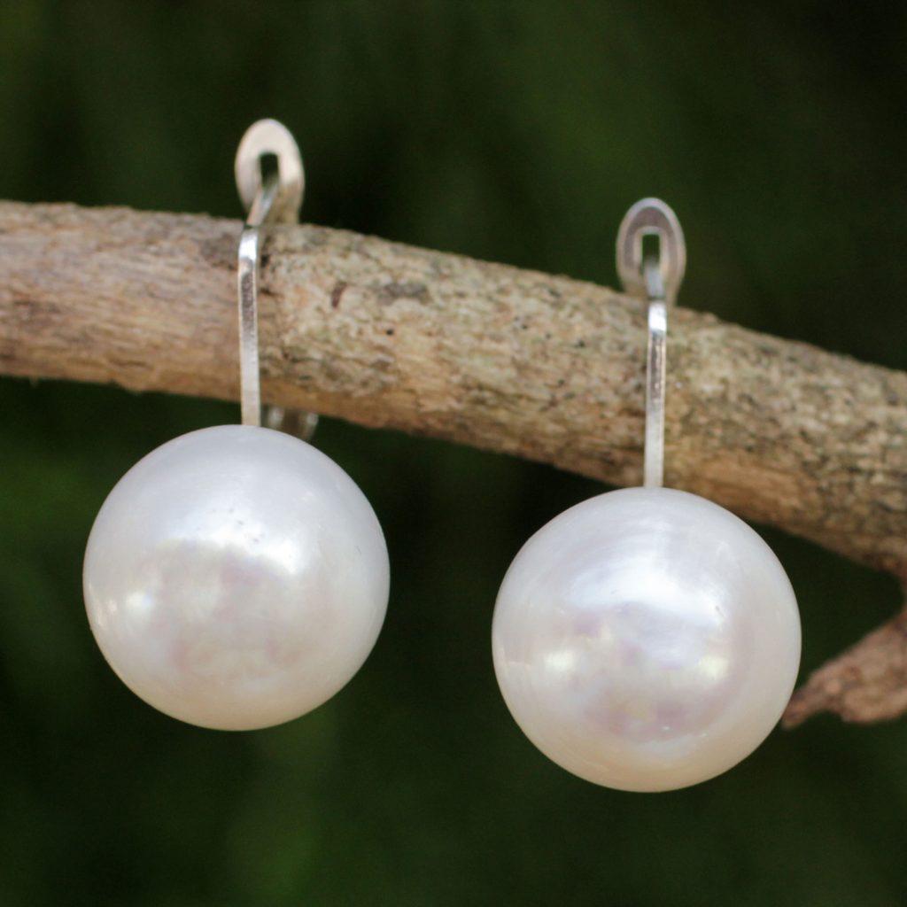 Fair Trade Cultured Freshwater Pearl Drop Gemstone Earrings, 'Pale Moon'