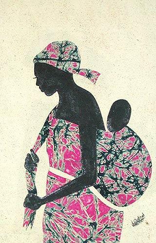 Hand Crafted Batik Cotton Folk Art Painting, 'Obatanpa'